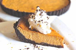 Pumpkin Pie with a Brownie Brittle Crust