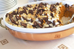 Salted Caramel Brownie Brittle Sweet Potato Casserole